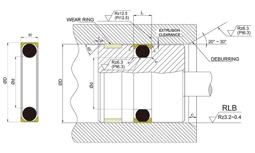 pneumatic piston seals nbrfkm seal DMS Seal Manufacturer Brand piston seals